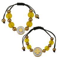 Edelstahl Ehepaar Armband, mit Glasperlen & Baumwolle Schnur & Weiße Muschel, unisex, gelb, 16mm,8mm,16mm,12mm, Länge:ca. 4-9 ZollInch, ca. 2SträngeStrang/Menge, verkauft von Menge