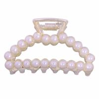 Haarschieber, Zinklegierung, plattiert, Nachahmung Perle & verschiedene Stile für Wahl & für Frau, weiß, 100x100x20mm, verkauft von PC