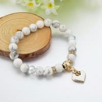 Lava Armband, mit Zinklegierung, Herz, goldfarben plattiert, für Frau & mit Strass, weiß, frei von Nickel, Blei & Kadmium, 190mm, verkauft per ca. 7.4 ZollInch Strang