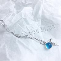 Kupfernickel Halskette, mit Kristall, silberfarben plattiert, für Frau, blau, frei von Nickel, Blei & Kadmium, 210-500mm, verkauft per ca. 19.7 ZollInch Strang