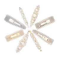 Haarschieber, Zinklegierung, mit Kunststoff Perlen, verschiedene Stile für Wahl & für Frau, weiß, frei von Nickel, Blei & Kadmium, 76x25mm,94x25mm,88x27mm,86x20mm,86x25mm,83x12mm, verkauft von PC