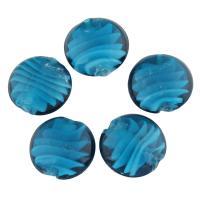 Innerer Twist Lampwork Perlen, flache Runde, Doppelloch, blau, 25x11mm, Bohrung:ca. 2mm, 5PCs/Tasche, verkauft von Tasche