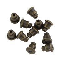Zinklegierung Barrel Bullet Style Ohrmutter, antike Bronzefarbe plattiert, frei von Nickel, Blei & Kadmium, 5x5mm, Bohrung:ca. 1mm, 200PCs/Tasche, verkauft von Tasche