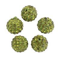 Strass Ton befestigte Perlen, Lehm pflastern, mit Strass, grün, 10x10mm, Bohrung:ca. 1mm, 100PCs/Tasche, verkauft von Tasche