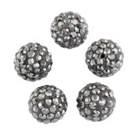 Strass Ton befestigte Perlen, Lehm pflastern, mit Strass, grau, 10x10mm, Bohrung:ca. 1mm, 100PCs/Tasche, verkauft von Tasche