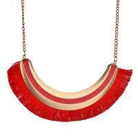 Zinklegierung Franse Halskette, mit Baumwollfaden, plattiert, für Frau & Emaille, keine, 110mm, verkauft per ca. 16.9 ZollInch Strang