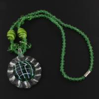 Kristall Halskette, kristallgrün, 41x52x13mm, verkauft per ca. 16.5 ZollInch Strang