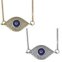 Edelstahl Halskette, mit Emaille, mit Verlängerungskettchen von 2inch, blöser Blick, plattiert, Oval-Kette & Micro pave Zirkonia, keine, 27x13mm,1.5mm, verkauft per ca. 17 ZollInch Strang