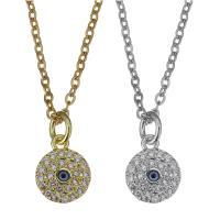 Edelstahl Halskette, mit Emaille, mit Verlängerungskettchen von 2inch, plattiert, böser Blick- Muster & Oval-Kette & Micro pave Zirkonia, keine, 8x10mm,1.5mm, verkauft per ca. 17 ZollInch Strang