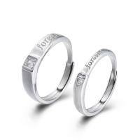 925er Sterling Silber Paar- Ring, Kreisring, plattiert, einstellbar & verschiedene Stile für Wahl & Micro pave Zirkonia, 2.5mm, 1.5mm, 4.1mm, 3mm, 1.6mm, Größe:6-11, verkauft von PC