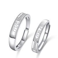 Ehepaar Fingerringe, 925er Sterling Silber, Kreisring, versilbert, einstellbar & verschiedene Stile für Wahl & Micro pave Zirkonia, 4mm, 1.8mm, 3.6mm, 1.5mm,1mm, Größe:6-11, verkauft von PC