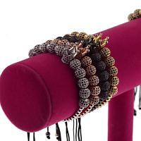 Messing Armband, mit Nylonschnur, plattiert, verschiedene Stile für Wahl & Micro pave Zirkonia & für paar, keine, 4mm/8mm, verkauft per 7.5 ZollInch Strang