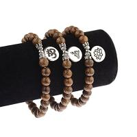 Holz Armbänder, mit Zinklegierung, rund, plattiert, unisex & verschiedene Stile für Wahl, braun, 8mm, verkauft per 7.5 ZollInch Strang