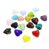 Goldsand Lampwork Perlen, Herz, verschiedene Größen vorhanden & Silberpulver, Bohrung:ca. 1mm, ca. 100PCs/Tasche, verkauft von Tasche