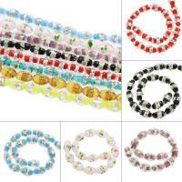 Inneren Blume-Lampwork-Beads, Lampwork, Olive, innen Blume & Silberfolie, keine, 10x17mm, Bohrung:ca. 1mm, ca. 100PCs/Tasche, verkauft von Tasche