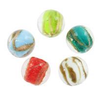 Goldsand Lampwork Perlen, rund, 17x17mm, Bohrung:ca. 1mm, ca. 100PCs/Tasche, verkauft von Tasche