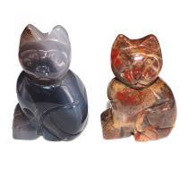 Edelstein Katze, geschnitzt, 33x50mm, 12PCs/Box, verkauft von Box