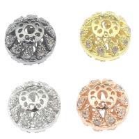 Strass Messing Perlen, plattiert, mit Strass & hohl, keine, frei von Nickel, Blei & Kadmium, 10x10x9mm, Bohrung:ca. 2mm, verkauft von PC