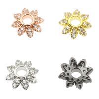 Messing Perlenkappe, Blume, plattiert, mit Strass, keine, frei von Nickel, Blei & Kadmium, 10x9x3mm, verkauft von PC