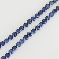 Lapislazuli Perlen, flache Runde, verschiedene Größen vorhanden, blau, Bohrung:ca. 1mm, verkauft per ca. 15.5 ZollInch Strang