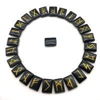 Obsidian Dekoration, Quadrat, geschnitzt, gemischtes Muster, schwarz, 15x20mm, 25PCs/Menge, verkauft von Menge