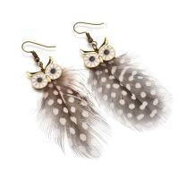 Zinklegierung Tropfen Ohrring, mit Feder, Eule, plattiert, für Frau & Emaille, keine, 85mm, verkauft von Paar