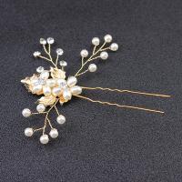 Braut Haarnadel, Zinklegierung, mit Kunststoff Perlen, plattiert, für Braut & mit Strass, goldfarben, 90x85mm, verkauft von PC