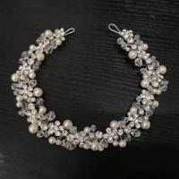 Haarreif, Zinklegierung, mit Glasperlen & Kunststoff Perlen, plattiert, für Frau & mit Strass, Silberfarbe, 320mm, verkauft von PC