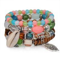 Zinklegierung kombiniertes Armband, mit Glasperlen & Muschel, silberfarben plattiert, für Frau, keine, frei von Nickel, Blei & Kadmium, 32mm, Länge:ca. 6.2 ZollInch, 2SträngeStrang/Menge, verkauft von Menge