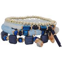 Zinklegierung kombiniertes Armband, mit Edelstein & Harz, plattiert, für Frau, keine, frei von Nickel, Blei & Kadmium, 25mm, Länge:ca. 7 ZollInch, 2SträngeStrang/Menge, verkauft von Menge