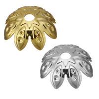Edelstahl Perle Kappe, Blume, Hohe Qualität überzogen und verblassen nie, keine, frei von Nickel, Blei & Kadmium, 9x3.50mm, Bohrung:ca. 1.5mm, ca. 1500PCs/Menge, verkauft von Menge