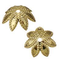 Edelstahl Perle Kappe, Blume, Hohe Qualität überzogen und verblassen nie, Goldfarbe, frei von Nickel, Blei & Kadmium, 9x3.50mm, Bohrung:ca. 1mm, ca. 1500PCs/Menge, verkauft von Menge