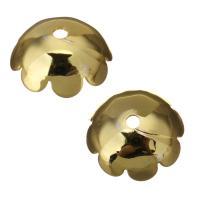Edelstahl Perle Kappe, Blume, Hohe Qualität überzogen und verblassen nie, Goldfarbe, frei von Nickel, Blei & Kadmium, 10x4mm, Bohrung:ca. 1mm, ca. 1500PCs/Menge, verkauft von Menge