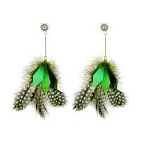 Zinklegierung Tropfen Ohrring, mit Feder, goldfarben plattiert, für Frau & mit Strass, keine, frei von Nickel, Blei & Kadmium, 85x155mm, verkauft von Paar