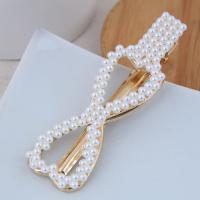 Haarschieber, Zinklegierung, mit Kunststoff Perlen, goldfarben plattiert, verschiedene Stile für Wahl, weiß, frei von Nickel, Blei & Kadmium, 82*25mm, verkauft von PC