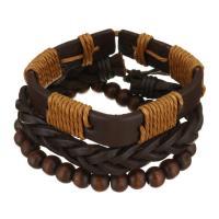 Leder Armband-Set, mit Gewachsten Baumwollkordel & Holz, unisex, braun, 8-15mm, Länge:ca. 7-10 ZollInch, verkauft von setzen