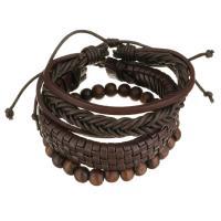 Leder Armband-Set, mit Gewachsten Baumwollkordel & Holz, unisex, braun, 8-16mm, Länge:ca. 7-10 ZollInch, verkauft von setzen