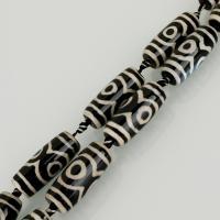 Achat Perlen, weiß und schwarz, 30x12x12mm, Bohrung:ca. 3mm, Länge:ca. 14 ZollInch, ca. 5/Menge, verkauft von Menge