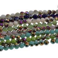 Kristall-Perlen, Kristall, bunte Farbe plattiert, mehrere Farben vorhanden, 8x8mm, 72PCs/Strang, verkauft per ca. 21.25 ZollInch Strang