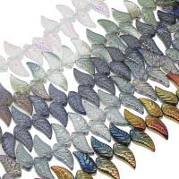 Kristall-Perlen, Kristall, Blatt, bunte Farbe plattiert, mehrere Farben vorhanden, 8x18x5mm, 100PCs/Strang, verkauft per ca. 25.19 ZollInch Strang