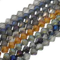 Kristall-Perlen, Kristall, bunte Farbe plattiert, facettierte, mehrere Farben vorhanden, 10x10mm, 60PCs/Strang, verkauft per ca. 23.62 ZollInch Strang