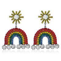 Zinklegierung Ohrringe, Regenbogen, plattiert, für Frau & mit Strass, farbenfroh, 52x38mm, verkauft von Paar