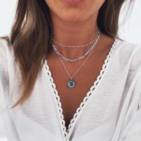 Zinklegierung Halskette, mit Synthetische Türkis, silberfarben plattiert, für Frau, frei von Nickel, Blei & Kadmium, 10mm, verkauft per ca. 18.1 ZollInch Strang