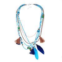 Zinklegierung Halskette, mit Baumwollfaden & Seedbead & Feder, plattiert, mehrschichtig & Folk-Stil & Twist oval & für Frau, keine, frei von Nickel, Blei & Kadmium, verkauft per ca. 16.9 ZollInch Strang
