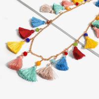 Zinklegierung Franse Halskette, mit Baumwollfaden, plattiert, Twist oval, keine, frei von Nickel, Blei & Kadmium, 25mm, verkauft per ca. 31.4 ZollInch Strang