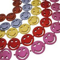 ABS-Kunststoff-Perlen, ABS Kunststoff, Lächelndes Gesichte, keine, 16x16mm, Bohrung:ca. 2mm, 100PC/Tasche, verkauft von Tasche