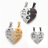 Edelstahl -Paar-Anhänger, Herz, plattiert, für paar, keine, 31x33mm, Bohrung:ca. 5x8mm, 2PCs/Menge, verkauft von Menge