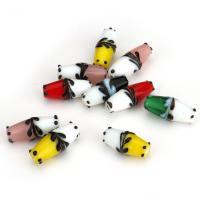Holprige Lampwork Perlen, uneben, gemischte Farben, 20-24x9x9mm, Bohrung:ca. 2mm, ca. 50PCs/Menge, verkauft von Menge