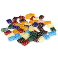 Inneren Blume-Lampwork-Beads, Lampwork, Quadrat, innen Blume, gemischte Farben, 10x14x3.50mm, Bohrung:ca. 1mm, ca. 50PCs/Menge, verkauft von Menge