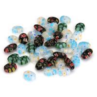Inneren Blume-Lampwork-Beads, Lampwork, innen Blume, gemischte Farben, 8x10-12x3-5mm, Bohrung:ca. 1mm, ca. 50PCs/Menge, verkauft von Menge